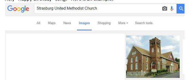 Google search results of StraburgUMC church
